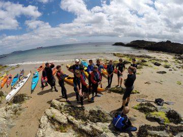 Beach briefing for the canoe trip