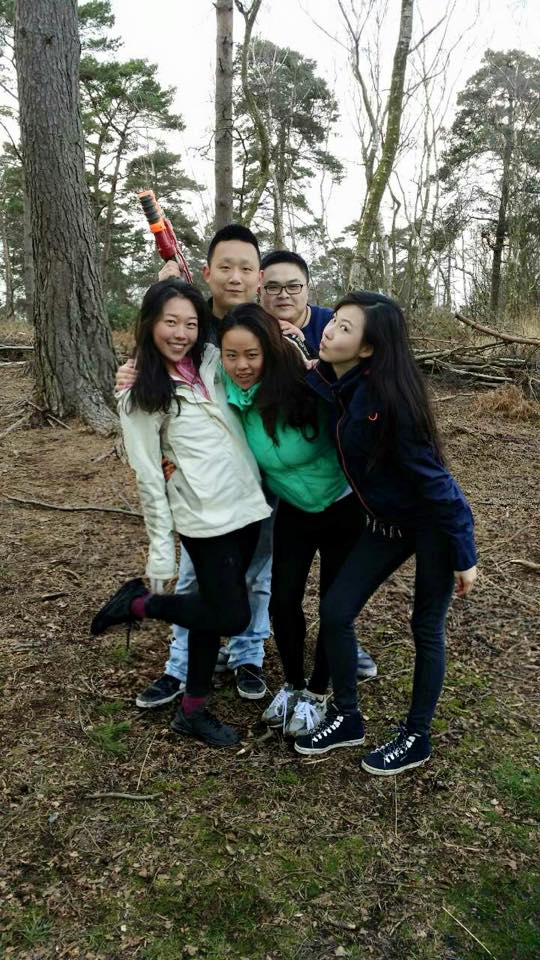 International students discovering the British woodlands