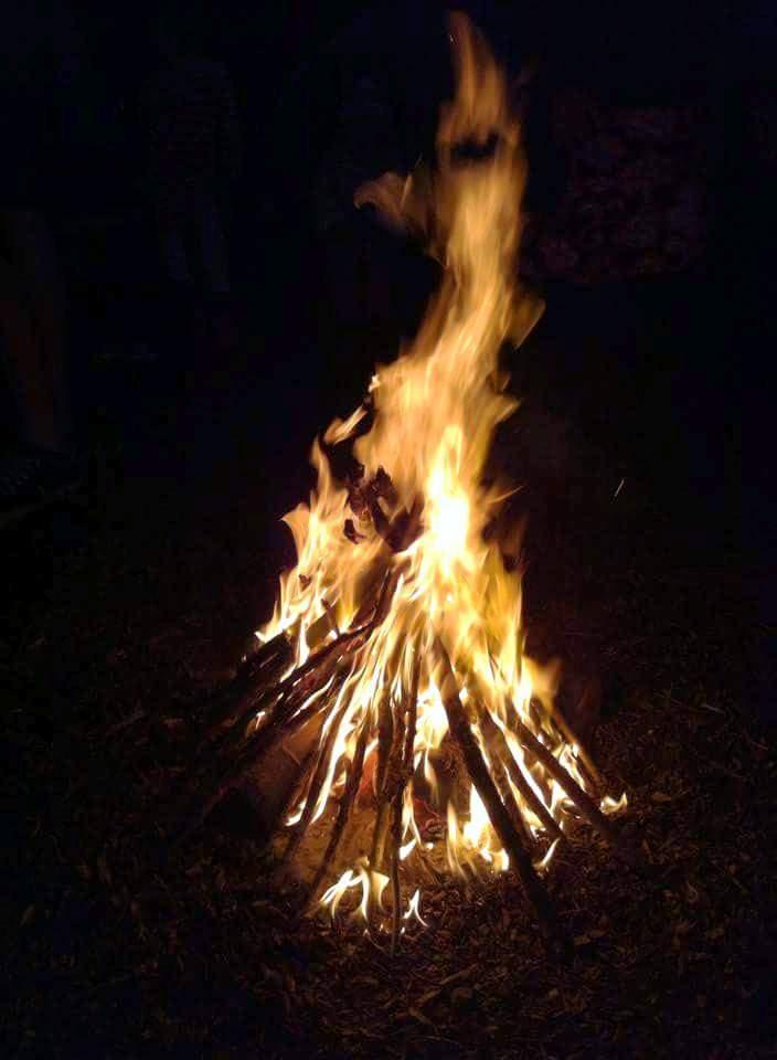 Roaring flame in the dark
