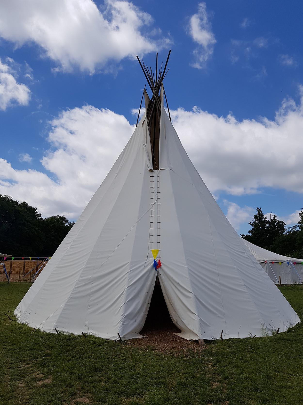 The amazing tipi at WoWo campsite - so striking against the blue sky