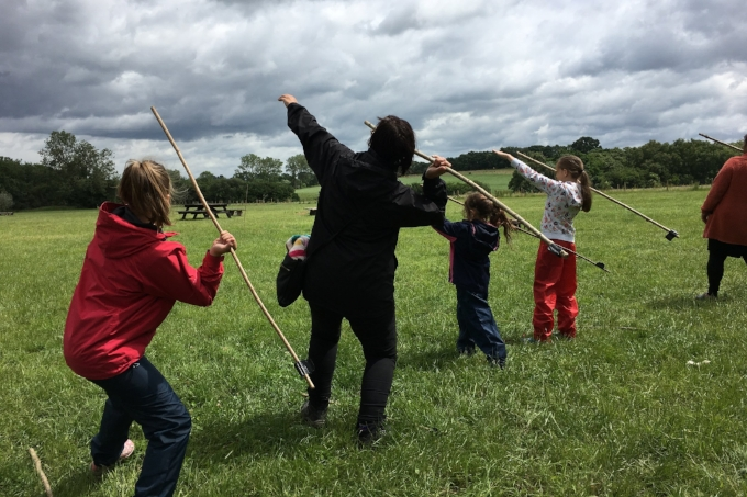 Child Day Ticket for Event. Practising spear throwing as part of the primitive weapons class