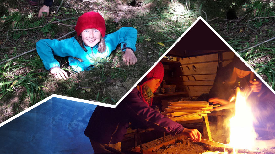 Really Wild Giving - composite photo of a cooking fire and girl in a bright red woolly hat exploring